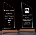 Zenith Summit Acrylic Award with Black Pedestal Walnut Base Achievement Awards